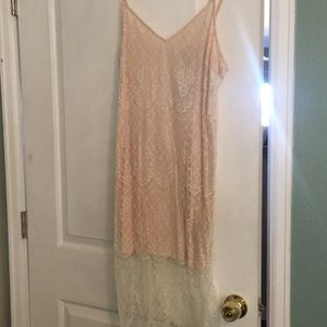 Slip dress with lace overlay